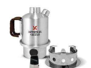 Aluminiowa kuchenka czajnik turystyczny survival kettle half srebrna – zestaw