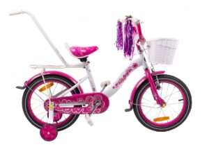 Rower dziecięcy flower 16″ biało-fioletowy