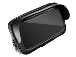 Uchwyt motocyklowy z etui 4,8″-5,5″ wodoszczelne z daszkiem czarny