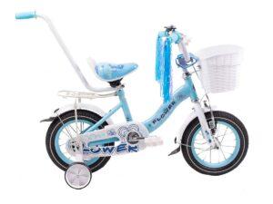 Rower dziecięcy flower 12″ błękitno-biały