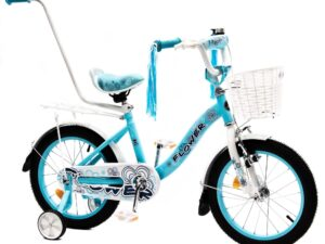 Rower dziecięcy  flower 16″ błękitno-biały