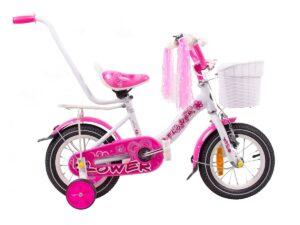 Rower dziecięcy flower 12″ biało-różowy