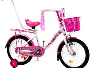 Rower dziecięcy flower 16″ biało-różowy